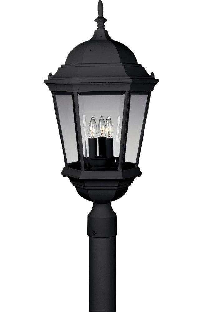 Welbourne Collection Textured Black 3-light Post Lantern