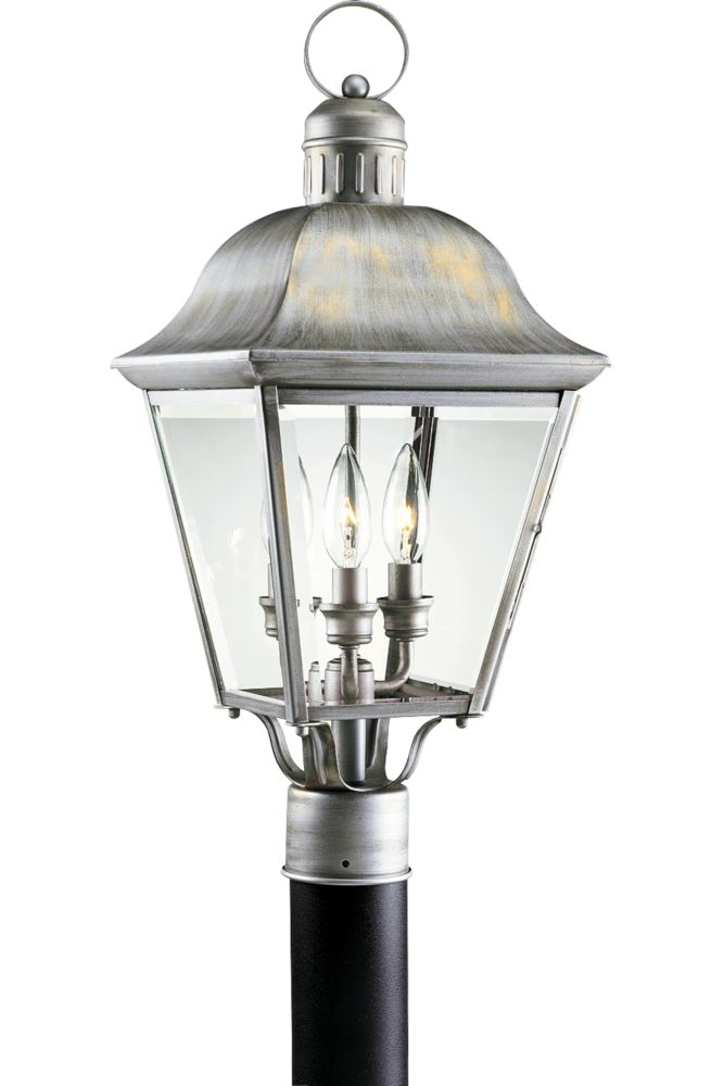 Andover Collection Oxford Silver 3-light Post Lantern