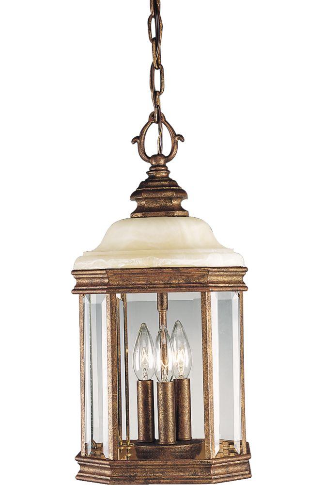 Lanterne suspendue à 3 Lumières, Collection Manchester - fini Ombre d'or