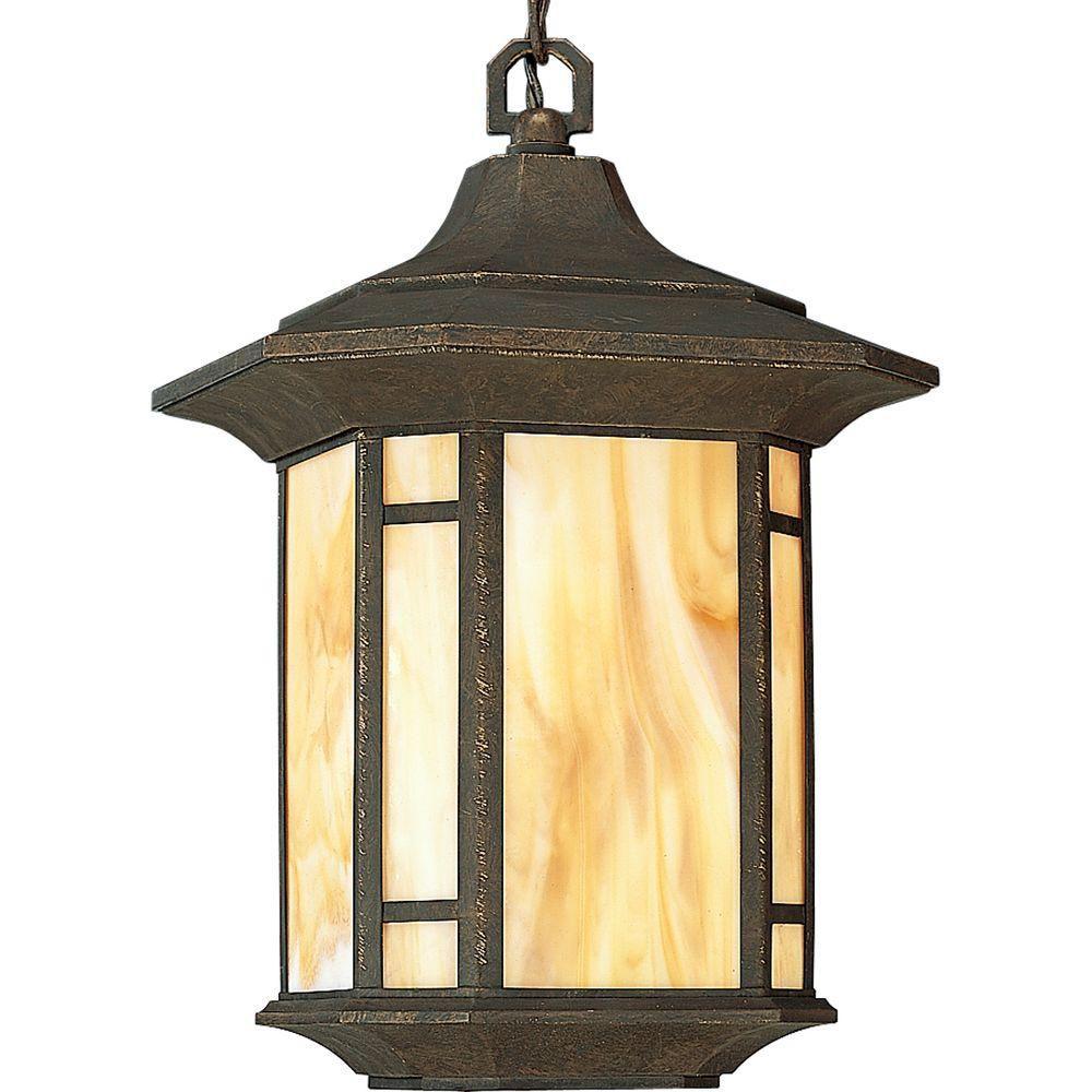 Progress Lighting Arts and Crafts Collection Weathered Bronze 1-light Hanging Lantern