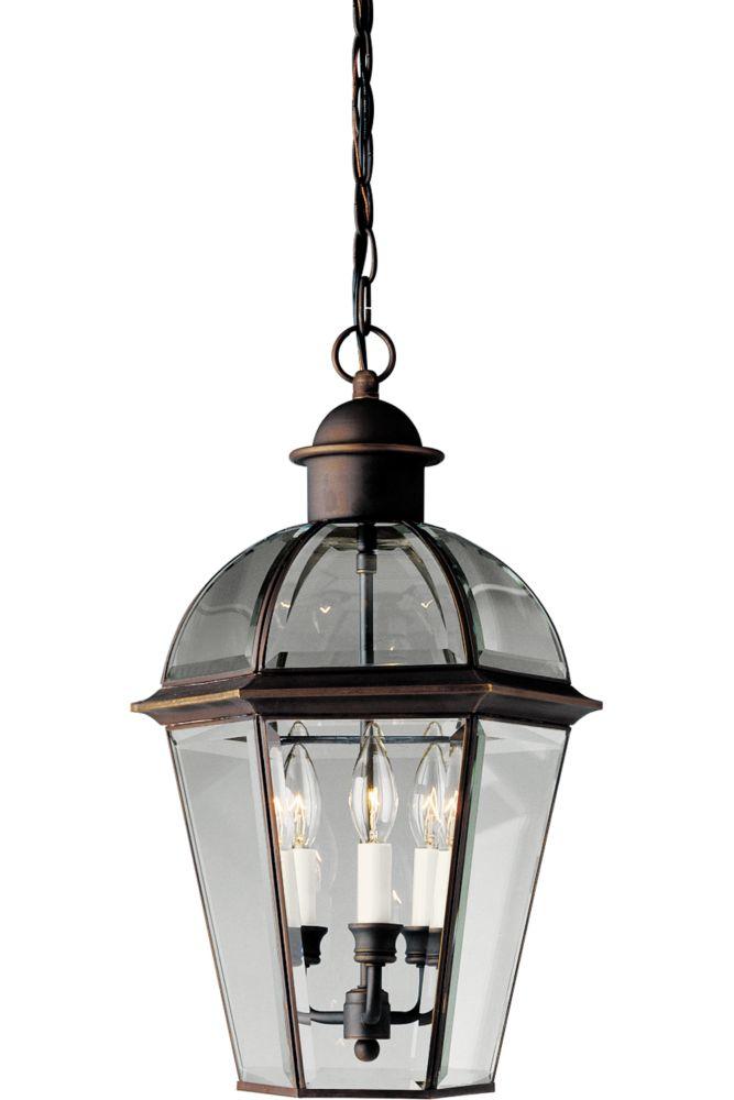 Danbury Collection Antique Bronze 3-Light Hanging Lantern