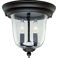 Progress Lighting Ashmore Collection Textured Black 2-light Outdoor Flushmount