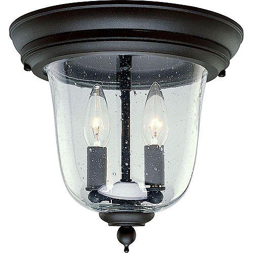Progress Lighting Ashmore Collection Textured Black 2-light Outdoor Flushmount