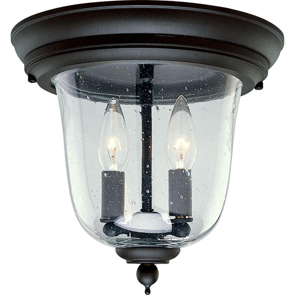 Ashmore Collection Textured Black 2-light Outdoor Flushmount
