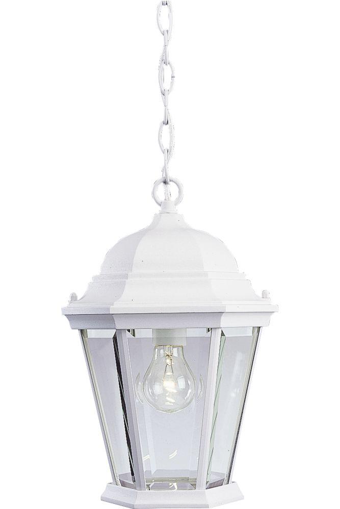 Lanterne suspendue à 1 Lumière, Collection Welbourne - fini Blanc Texturé