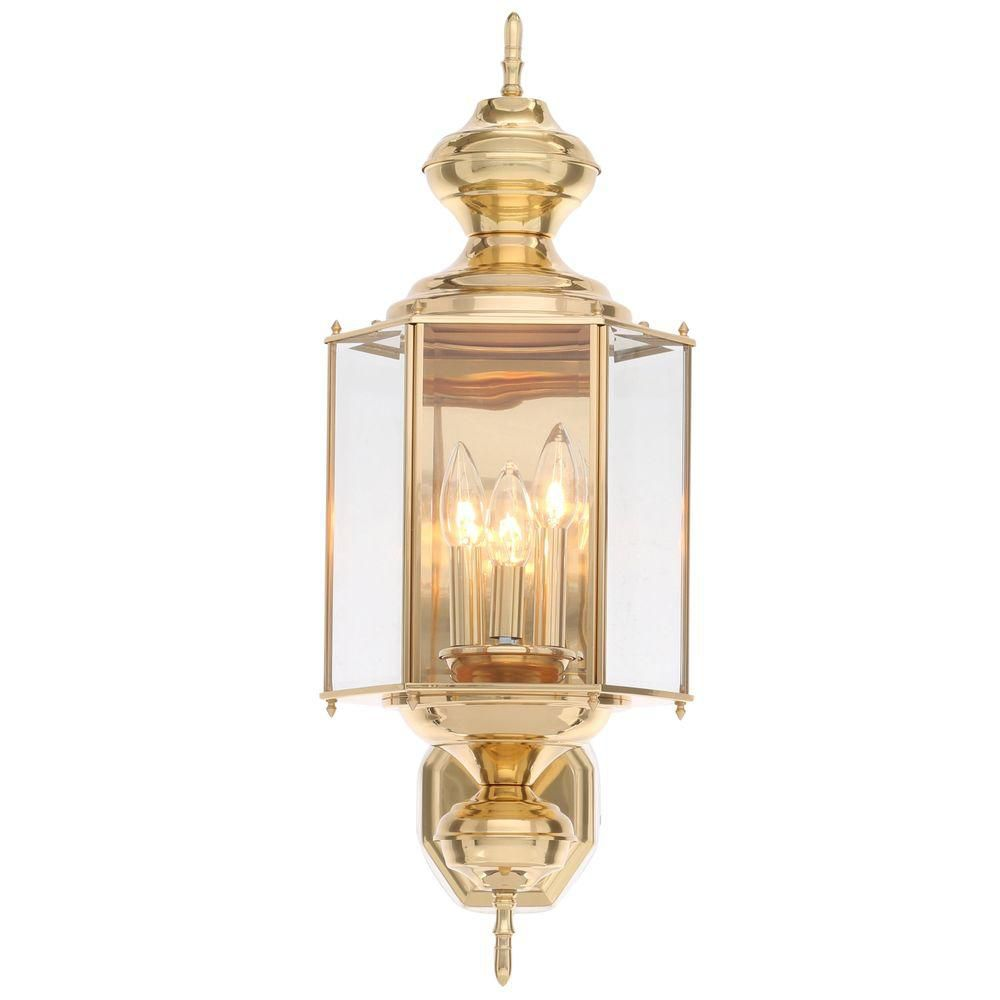 Progress Lighting BrassGUARD Collection 3-Light Polished Brass Outdoor Wall Lantern