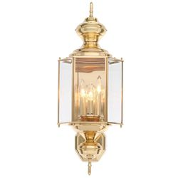 Progress Lighting BrassGUARD Collection 3-Light Polished Brass Outdoor Wall Lantern