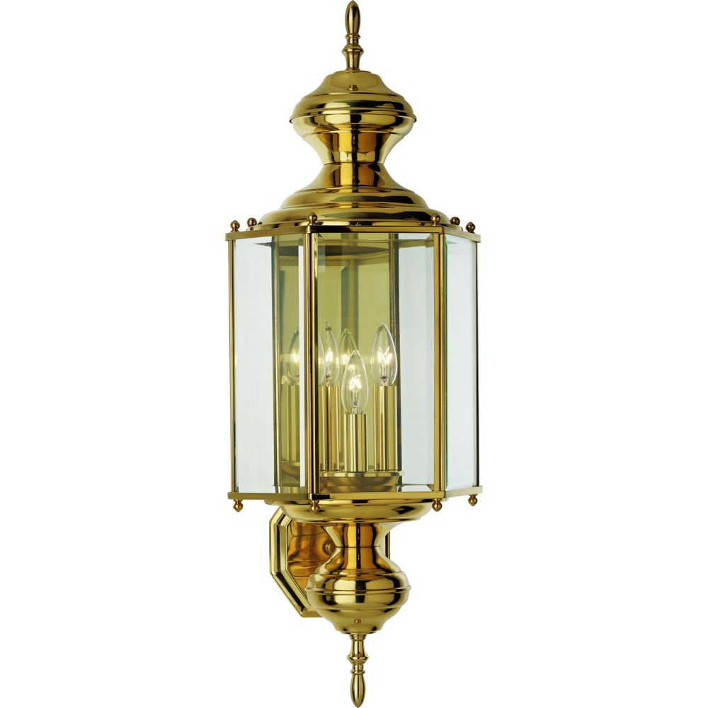 BrassGUARD Collection Polished Brass 3-light Wall Lantern