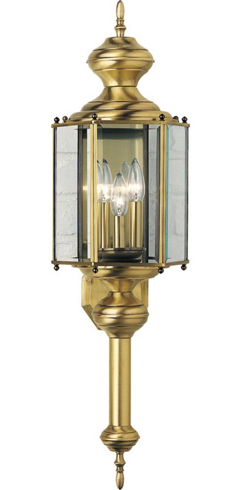 BrassGUARD Collection Weathered Brass 3-light Wall Lantern