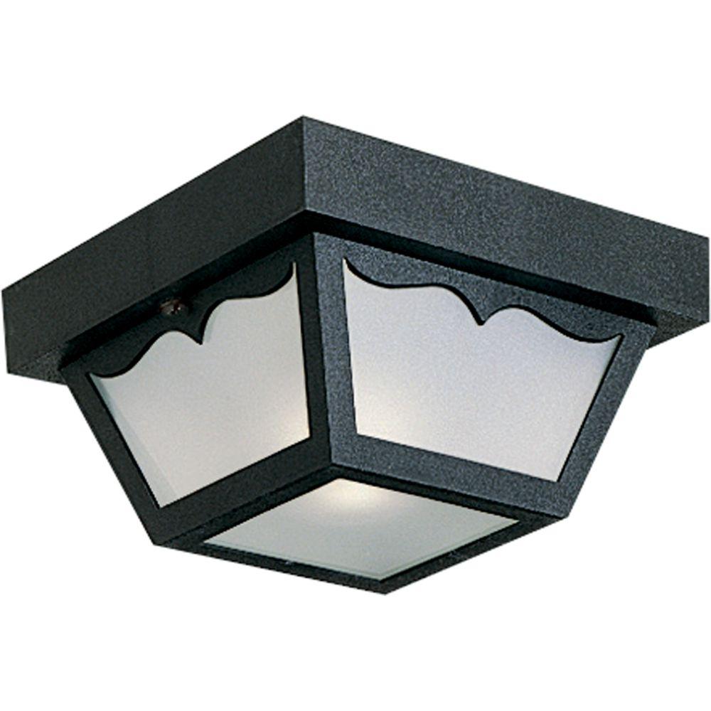 Black 1-light Outdoor Flushmount