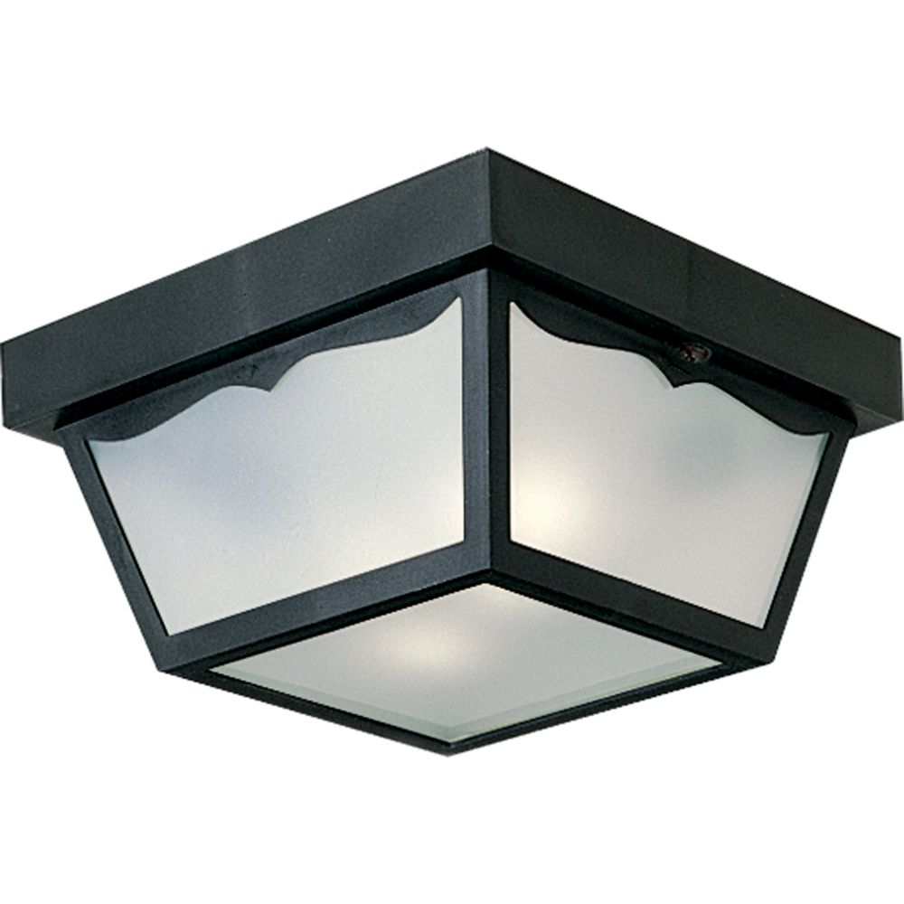lighting black 2 light outdoor flushmount the home depot canada. Black Bedroom Furniture Sets. Home Design Ideas