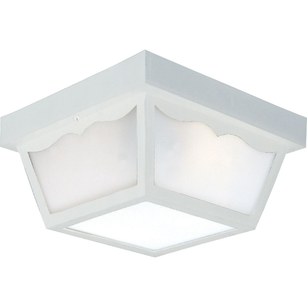 White 2-light Outdoor Flushmount