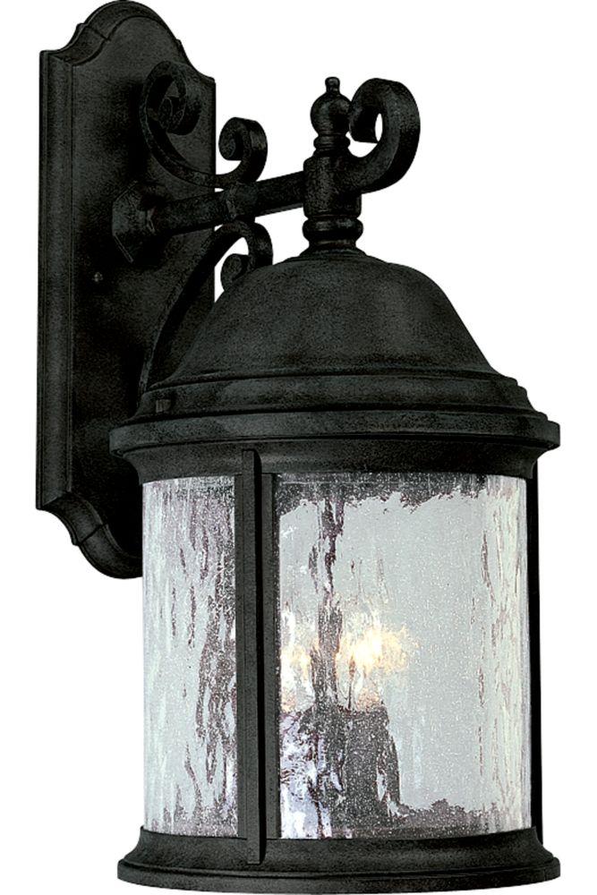 Lanterne murale à 3 Lumières, Collection Ashmore - fini Noir Texturé