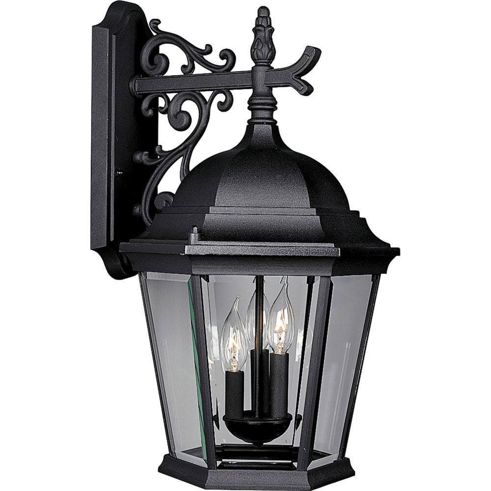 Welbourne Collection Textured Black 3-light Wall Lantern
