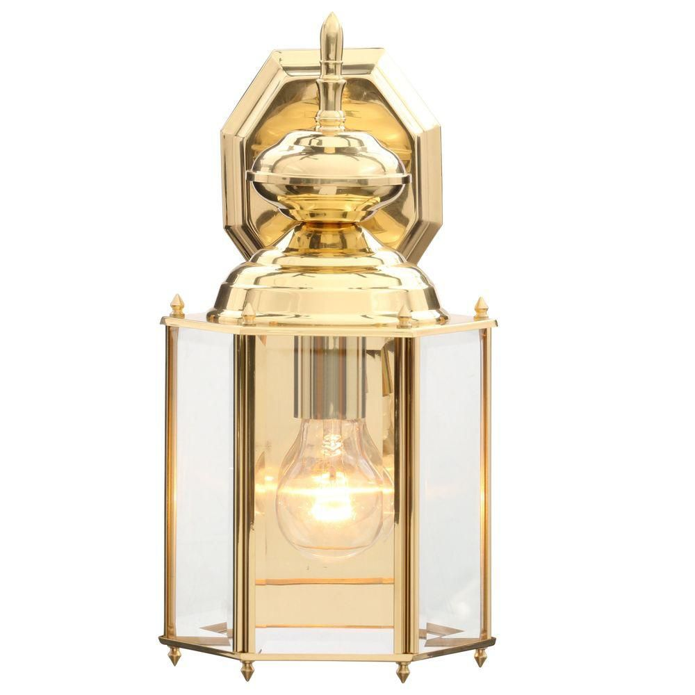 BrassGUARD 100W 1-Light Polished Brass Finish Clear Beveled Glass Outdoor Wall Lantern