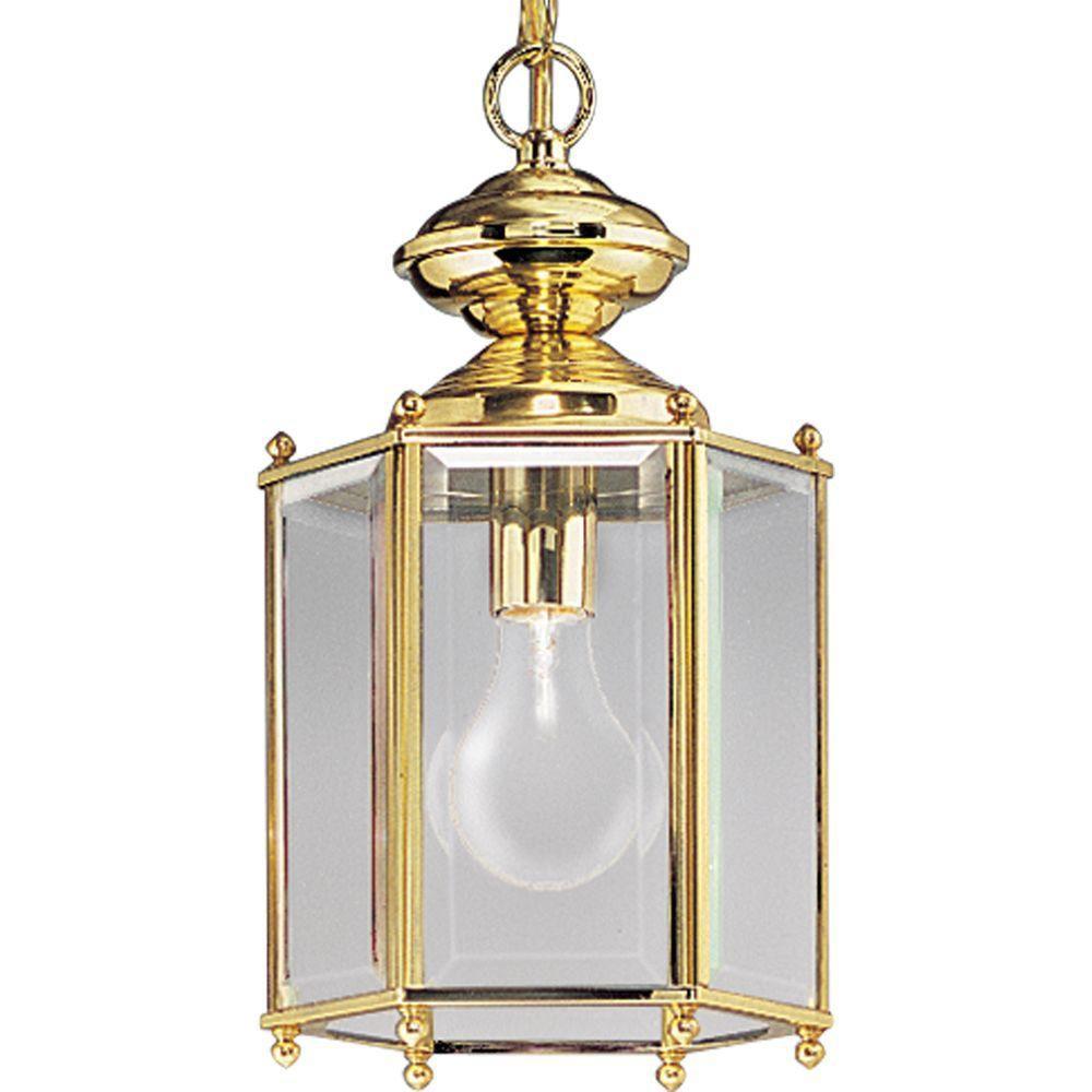 BrassGUARD Collection Polished Brass 1-light Hanging Lantern