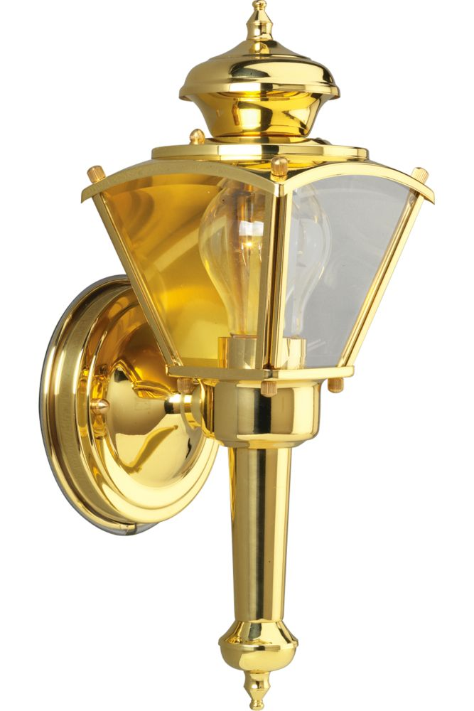 Lanterne murale à 1 Lumière, Collection BrassGUARD - fini Laiton Poli