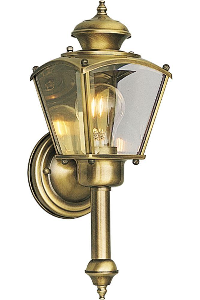 Lanterne murale à 1 Lumière, Collection BrassGUARD - fini Laiton à l'Ancienne