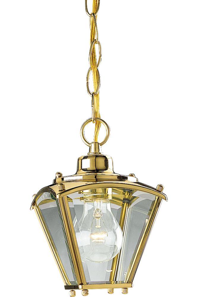 Lanterne suspendue à 1 Lumière, Collection BrassGUARD - fini Laiton Poli