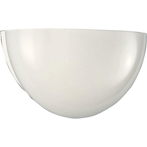 13W 1-Light White Wall Sconce with White Glass
