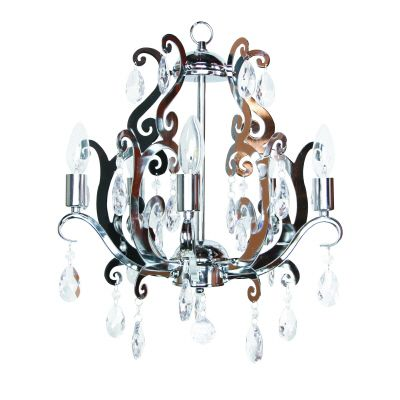 Chantal Chandelier: Chrome with Lucite Crystals 5 Lite