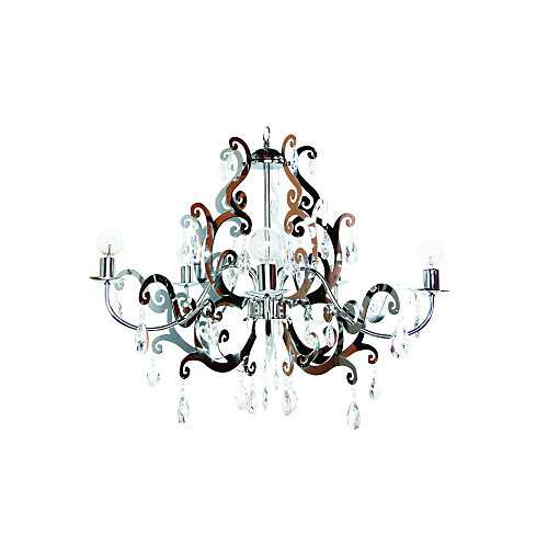 Damask chandelier chrome with lucite crystals 5 lite