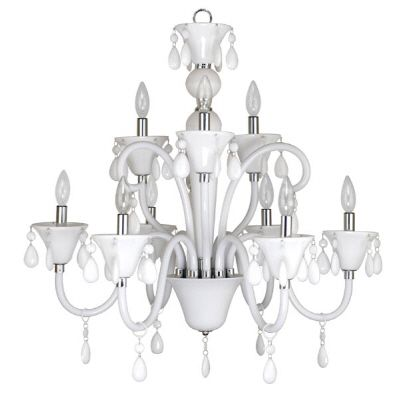 Euphoria Nine-Light Polished Chrome Chandelier with White Lucite Jewel Drops