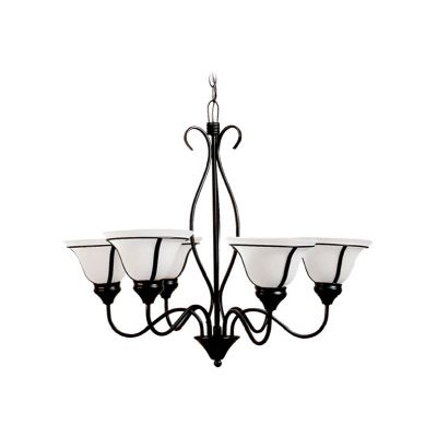 Romanesque Ebony Chandelier with Sugar Glass � 6 Lights