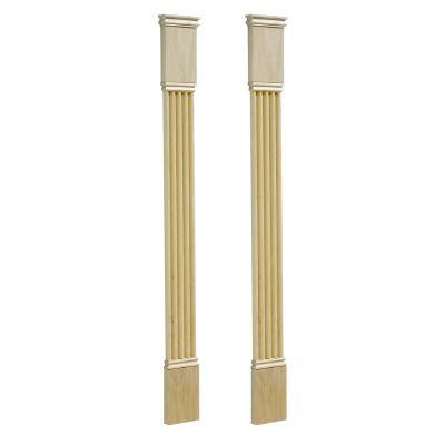 Classic Fluted Pilaster Kit, White Hardwood