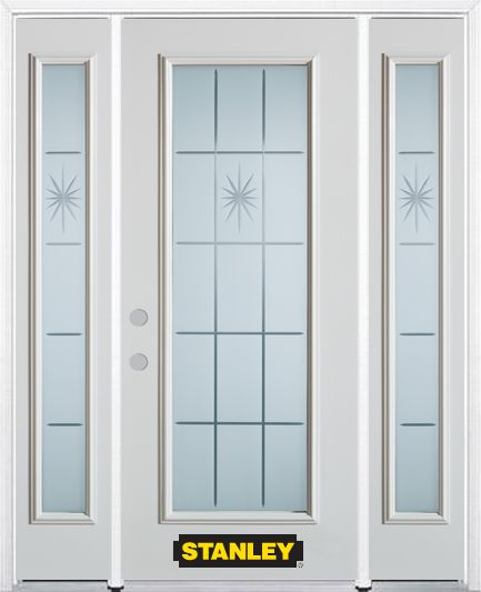 64-inch x 82-inch Beaujolais Full Lite Finished White Steel Entry Door with Sidelites and Brickmo...