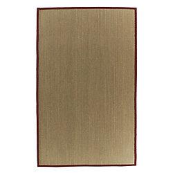 Lanart Rug Carpette d'intérieur, 5 pi x 8 pi, tissage texturé, rectangulaire, jonc de mer naturel, havane