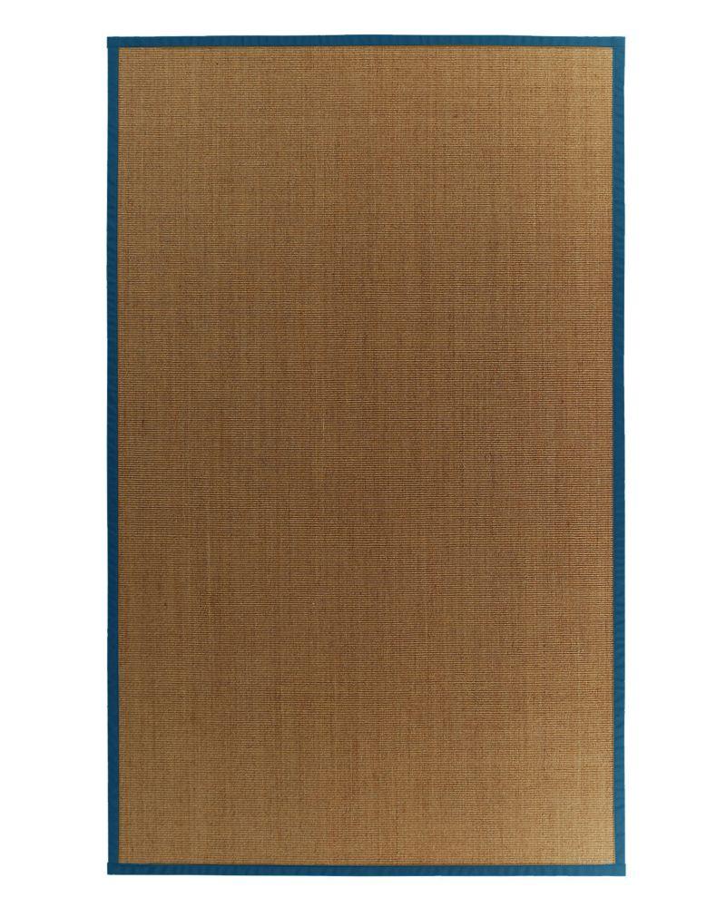 Sisal Naturel 5x8 Bordure Bleu #38