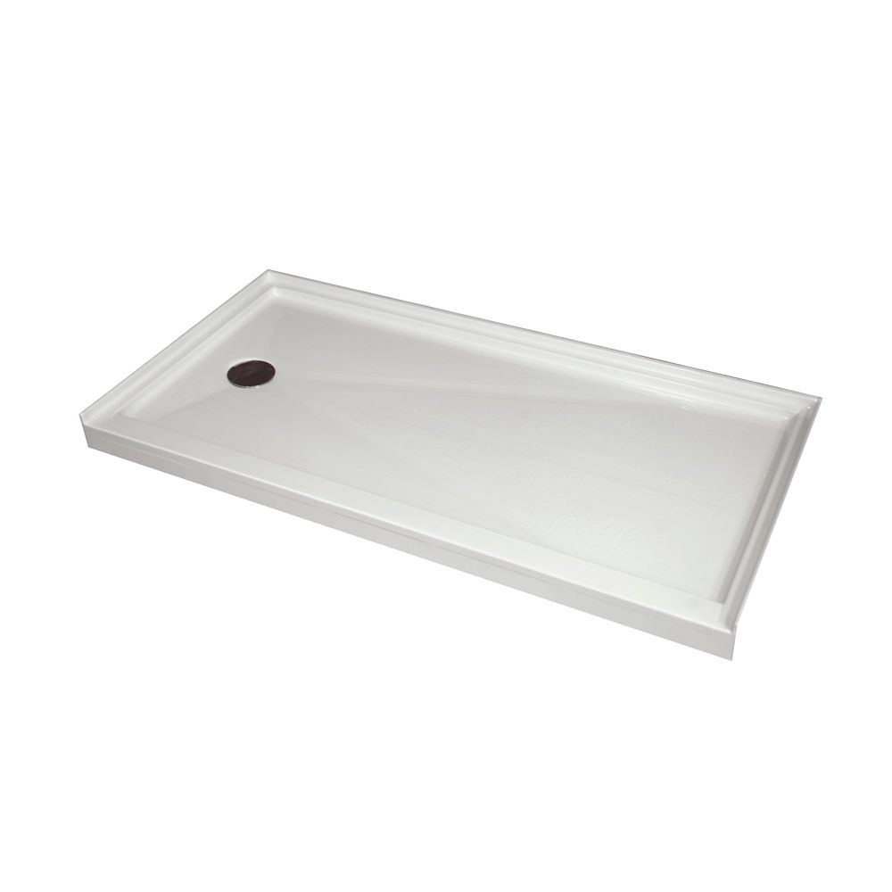 Single Threshold Retro-Fit Shower Base with Left Hand Drain - 60 Inch x 32 Inch