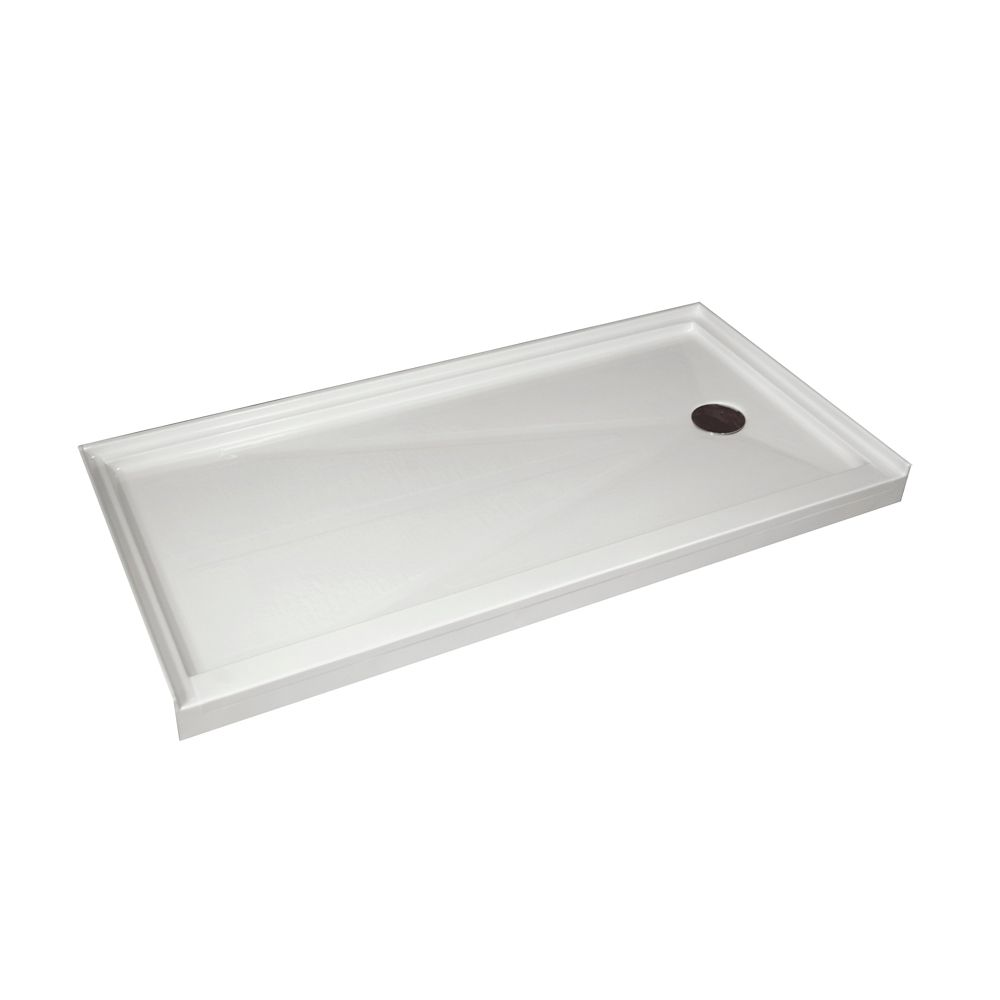 Single Threshold Retro-Fit Shower Base with Right Hand Drain - 60 Inch x 32 Inch