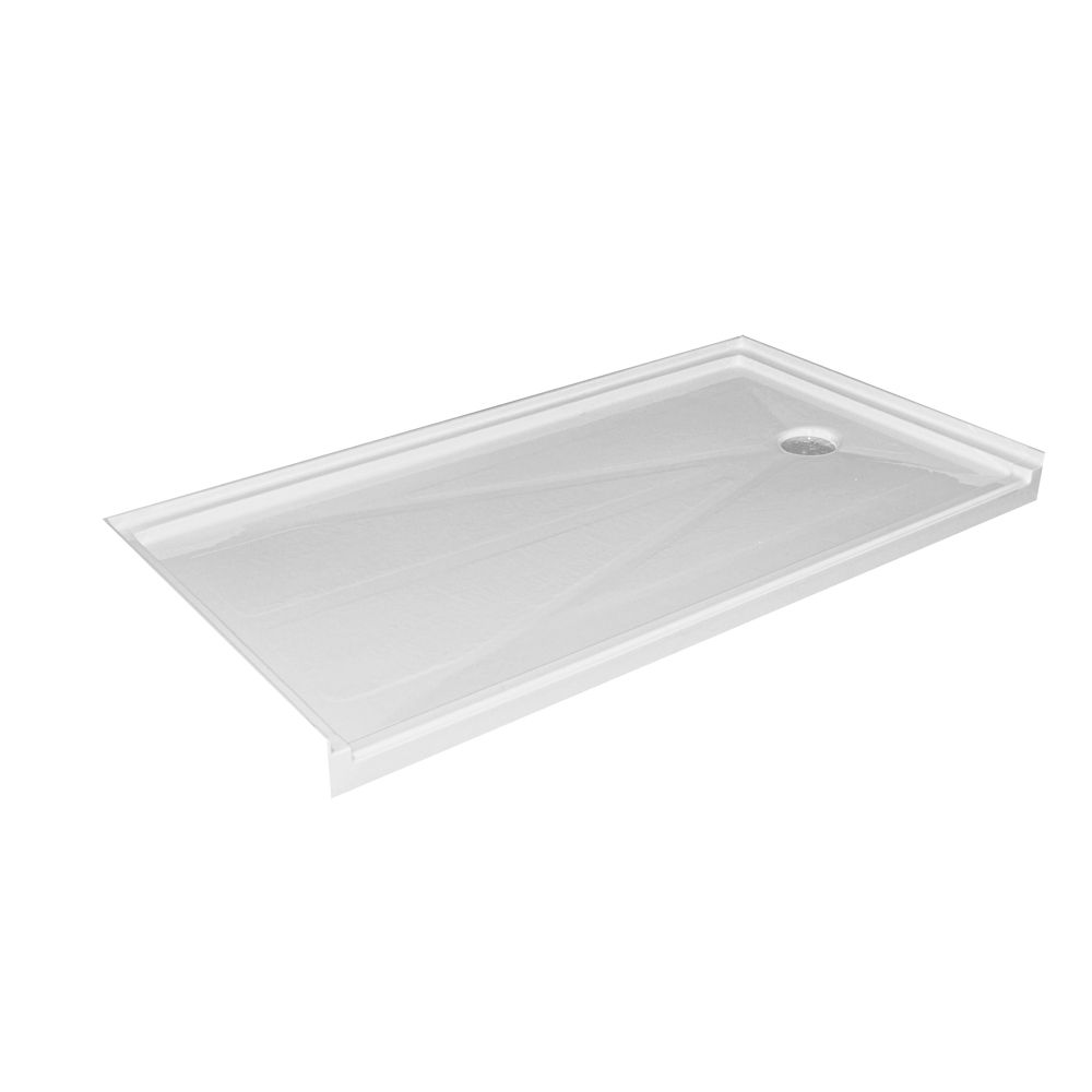 Single Threshold Barrier Free Shower Base with Right Hand Drain - 60 Inch x 32 Inch