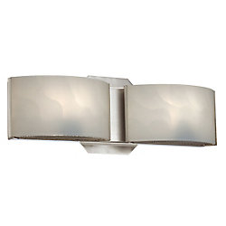 Dakota 2-Light Satin Nickel Wall Bath Bar Sconce