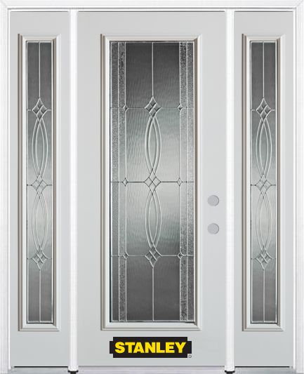 64-inch x 82-inch Diamanti Classic Full Lite White Steel Entry Door with Sidelites and Brickmould