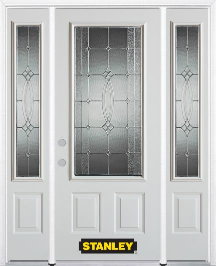 66-inch x 82-inch 3/4-Lite 2-Panel White Steel Entry Door with Sidelites and Brickmould