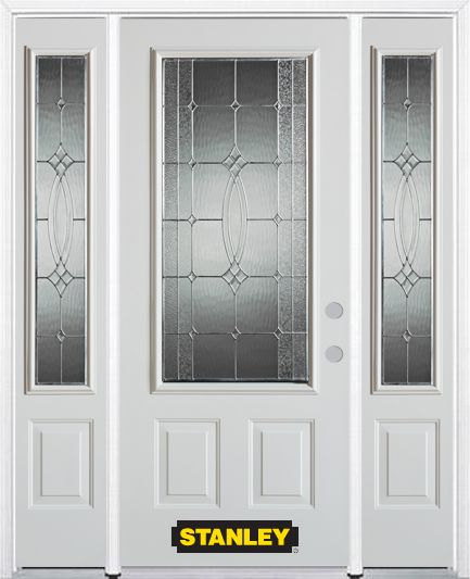 Stanley Doors 66.5 inch x 82.375 inch Diamanti Zinc 3/4 Lite 2-Panel Prefinished White Left-Hand Inswing Steel Prehung Front Door with Sidelites and Brickmould