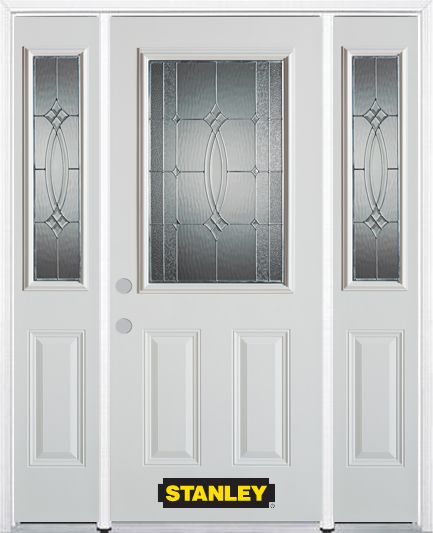 64-inch x 82-inch 1/2-Lite 2-Panel White Steel Entry Door with Sidelites and Brickmould