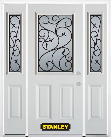 68-inch x 82-inch Borders 1/2-Lite 2-Panel White Steel Entry Door with Sidelites and Brickmould