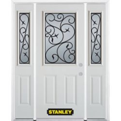 Stanley Doors 68.5 inch x 82.375 inch Borduas 1/2 Lite 2-Panel Prefinished White Left-Hand Inswing Steel Prehung Front Door with Sidelites and Brickmould - ENERGY STAR®