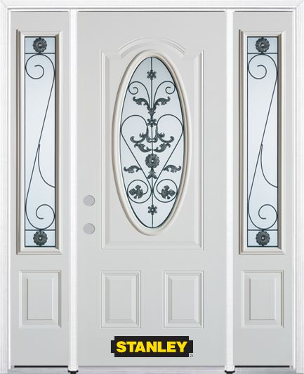 Stanley Doors 66.5 inch x 82.375 inch Blacksmith 3/4 Oval Lite 2-Panel Prefinished White Right-Hand Inswing Steel Prehung Front Door with Sidelites and Brickmould
