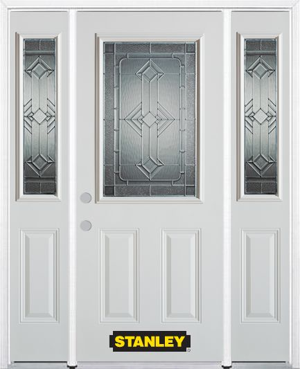 66-inch x 82-inch Neo-Deco 1/2-Lite 2-Panel White Steel Entry Door with Sidelites and Brickmould