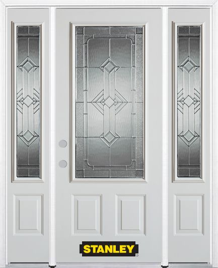 66-inch x 82-inch Neo-Deco 3/4-Lite 2-Panel White Steel Entry Door with Sidelites and Brickmould