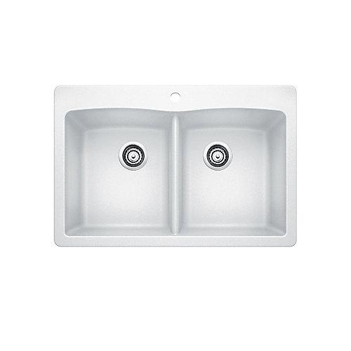 Silgranit Natural Granite, 2 Bowl Drop-In Sink, White