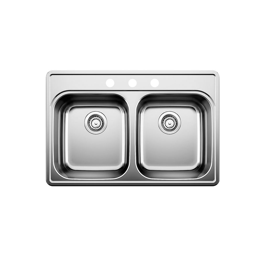 Stainless Steel Topmount Kitchen Sink, 3-Hole SOP1016 Canada Discount