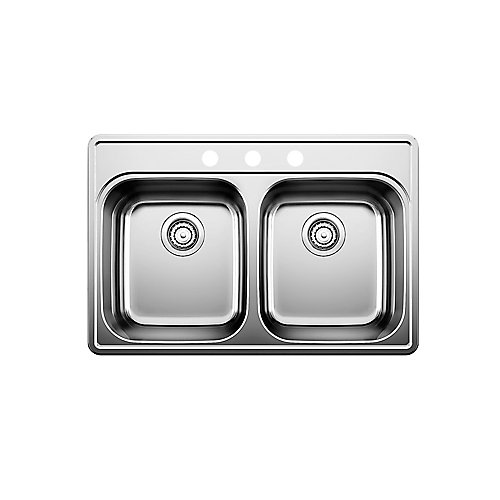 Stainless Steel Top Mount 3-Hole Kitchen Sink