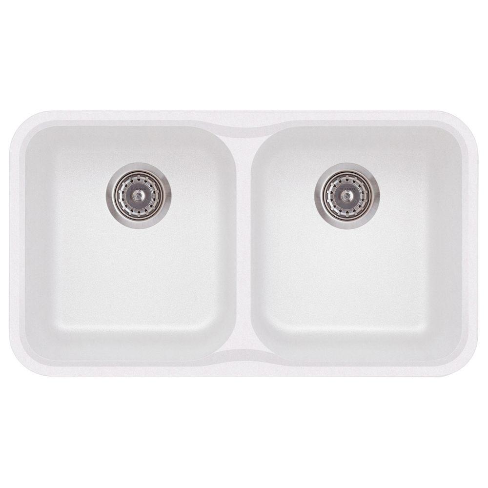 Silgranit Natural Granite, 2 Bowl Undermount Sink, White