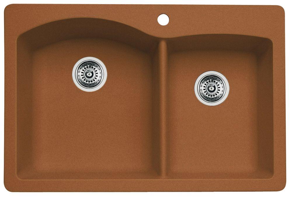 Silgranit Natural Granite, 1 3/4 Bowl Drop-In Sink, Cognac